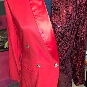 Red sequined & satin double breasted blazer-dress